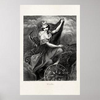 Antiguo romano griego de Diana Artemis de la diosa Impresiones