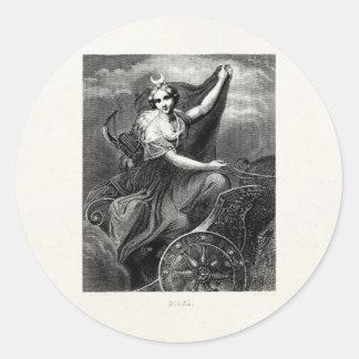 Antiguo romano griego de Diana Artemis de la diosa Pegatina Redonda