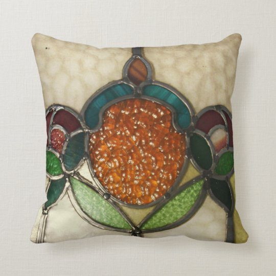 ANTIIQUE 1940 STAINED GLASS WINDOW.....PILLOW THROW PILLOW