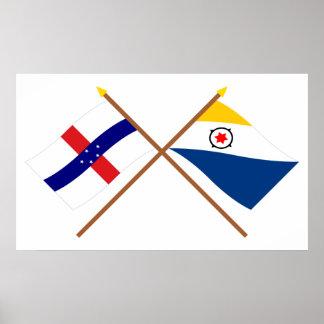 Antillas holandesas y banderas cruzadas Bonaire Póster