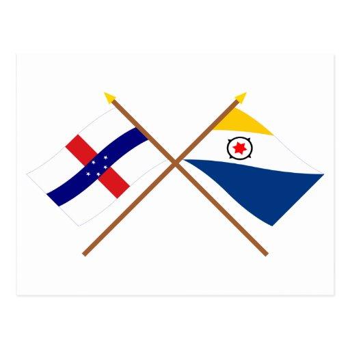 Antillas holandesas y banderas cruzadas Bonaire Postales