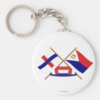 Antillas holandesas y banderas cruzadas Maarten de Llavero Redondo Tipo Pin