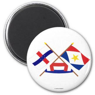 Antillas holandesas y banderas cruzadas Saba Imanes Para Frigoríficos