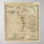 Antillas, islas de Charibbee Póster