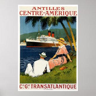 Antilles Central America Vintage Ship Travel Poster