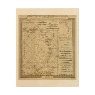 Antilles Charibbee Caribbean Virgin Isles Map 1784 Wood Wall Art