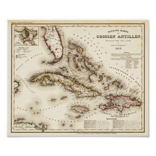 Antilles Meyer and Radefeld 1850 Reproduction Poster