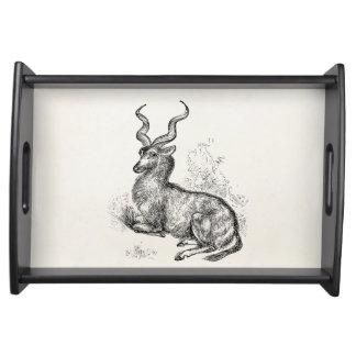 Antílope rizado del Gazelle del cuerno del vintage Bandeja