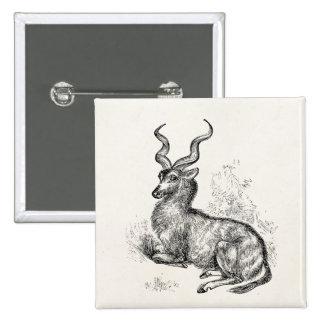 Antílope rizado del Gazelle del cuerno del vintage Pin Cuadrado
