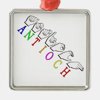 ANTIOCH FINGERSPELLED ASL NAME SIGN METAL ORNAMENT