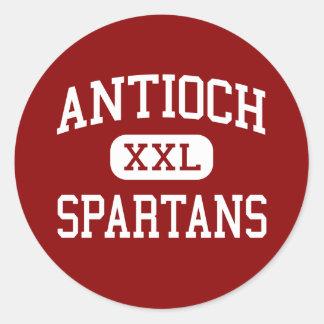 Antioch - Spartans - centro - Gladstone Missouri Pegatina Redonda