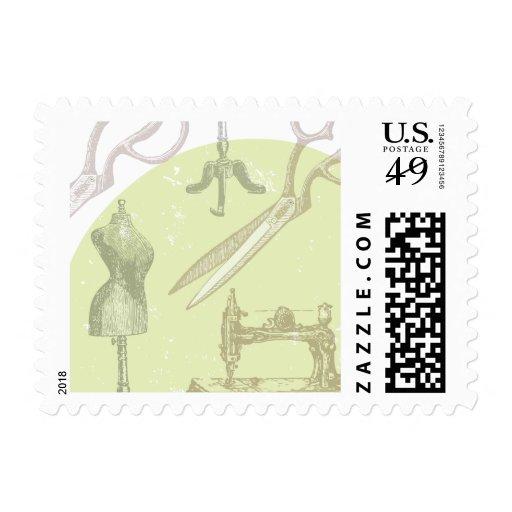 Antiqu y tema de costura del vintage sello