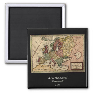 Antiquarian 1721 Map of Europe by Herman Moll 2 Inch Square Magnet