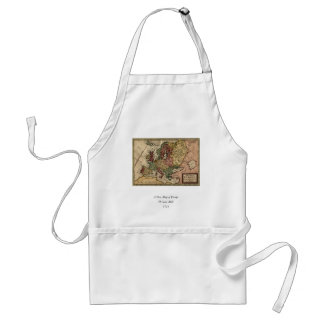 Antiquarian 1721 Map of Europe by Herman Moll Adult Apron