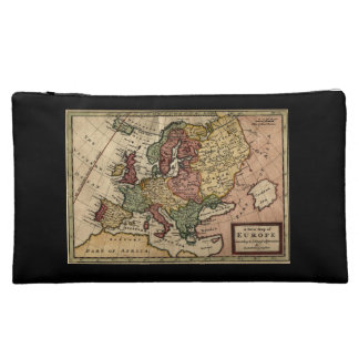 Antiquarian 1721 Map of Europe by Herman Moll Cosmetics Bags