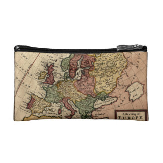 Antiquarian 1721 Map of Europe by Herman Moll Makeup Bags