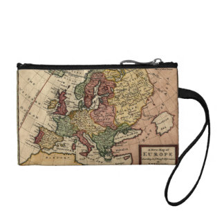 Antiquarian 1721 Map of Europe by Herman Moll Change Purse
