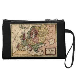 Antiquarian 1721 Map of Europe by Herman Moll Wristlet Purses