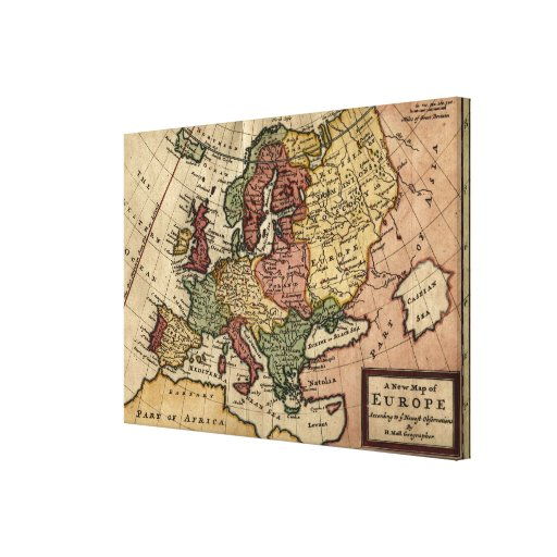 Antiquarian 1721 Map of Europe by Herman Moll Canvas Print