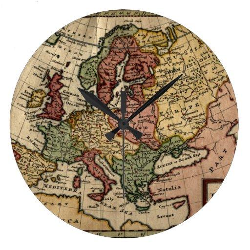 Antiquarian 1721 Map of Europe by Herman Moll Clocks