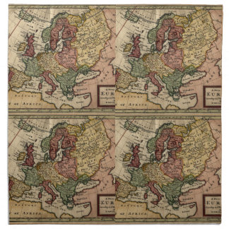 Antiquarian 1721 Map of Europe by Herman Moll Cloth Napkin
