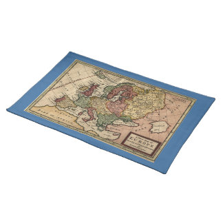 Antiquarian 1721 Map of Europe by Herman Moll Cloth Placemat