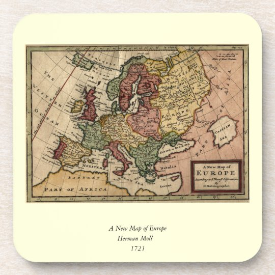 Antiquarian 1721 Map of Europe by Herman Moll Coaster