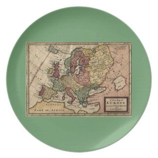 Antiquarian 1721 Map of Europe by Herman Moll Dinner Plate