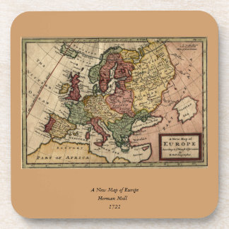 Antiquarian 1721 Map of Europe by Herman Moll Drink Coaster