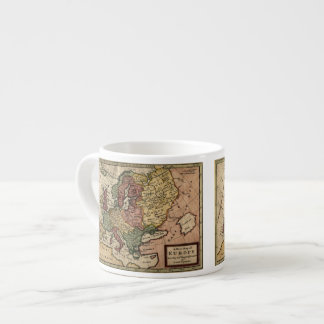Antiquarian 1721 Map of Europe by Herman Moll Espresso Cup