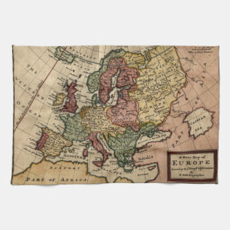 Antiquarian 1721 Map of Europe by Herman Moll Hand Towels