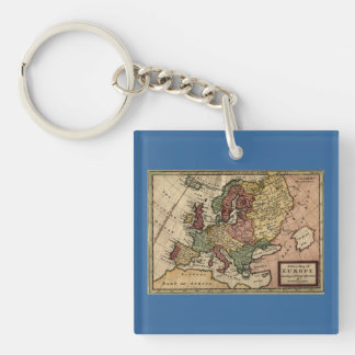 Antiquarian 1721 Map of Europe by Herman Moll Keychain