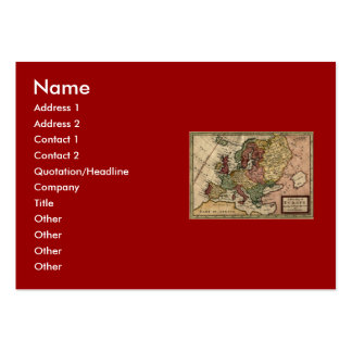 Antiquarian 1721 Map of Europe by Herman Moll Large Business Card