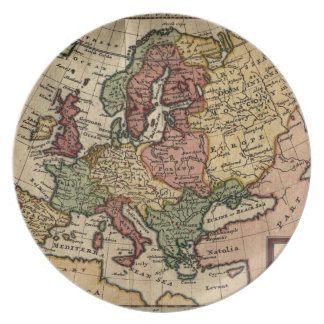Antiquarian 1721 Map of Europe by Herman Moll Melamine Plate