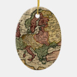 Antiquarian 1721 Map of Europe by Herman Moll Christmas Ornaments
