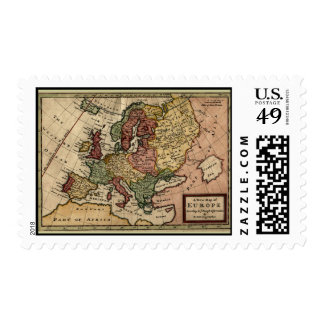 Antiquarian 1721 Map of Europe by Herman Moll Postage Stamp