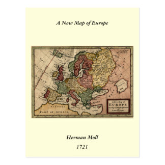 Antiquarian 1721 Map of Europe by Herman Moll Postcard