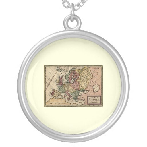 Antiquarian 1721 Map of Europe by Herman Moll Round Pendant Necklace
