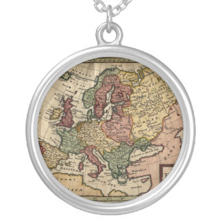Antiquarian 1721 Map of Europe by Herman Moll Silver Plated Necklace