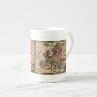 Antiquarian 1721 Map of Europe by Herman Moll Tea Cup