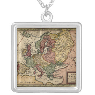 Antiquarian 1721 Map of Europe by Herman Moll Square Pendant Necklace