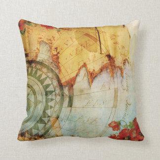 Antiquarian Map Compass & Poppies Pillow