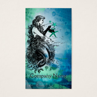 Antiquarian Mermaid Whimsical Business Cards