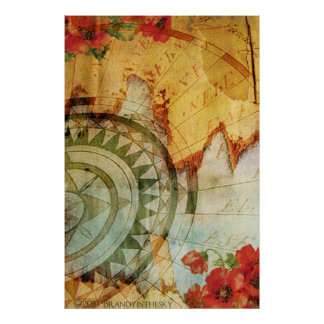 Antiquarian Steampunk Poster with Compass Poppy