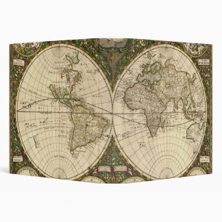 Antique 1660 World Map by Frederick de Wit 3 Ring Binder
