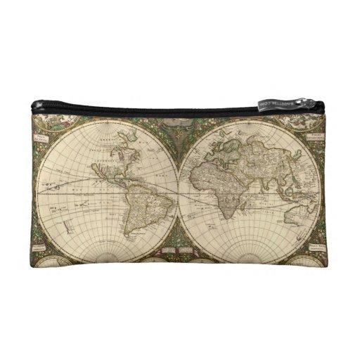 Antique 1660 World Map by Frederick de Wit Makeup Bag