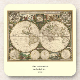 Antique 1660 World Map by Frederick de Wit Beverage Coaster