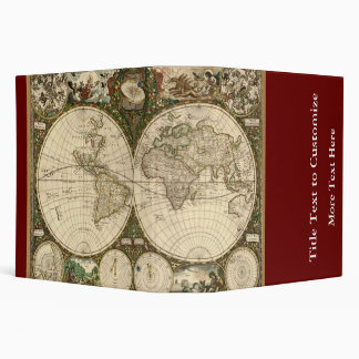 Antique 1660 World Map by Frederick de Wit 3 Ring Binders