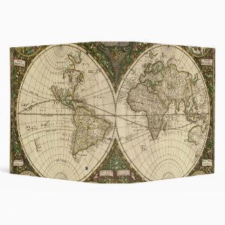 Antique 1660 World Map by Frederick de Wit Binder