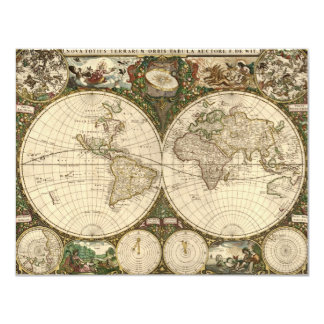 Antique 1660 World Map by Frederick de Wit Card